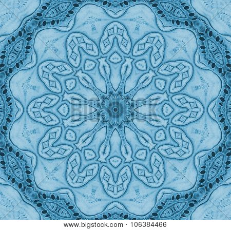 Seamless floral ornament blue