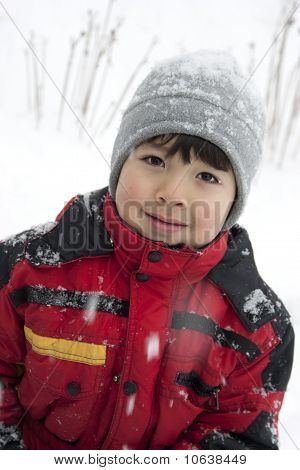 Young boy's portrait in the cold.