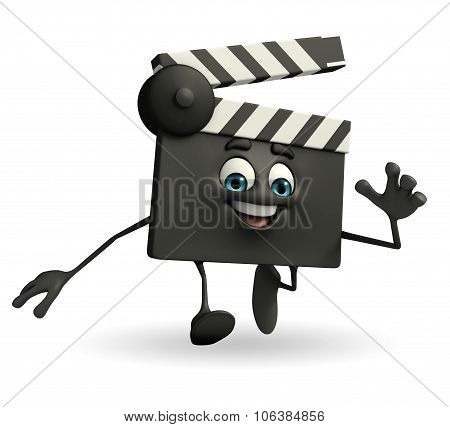 Clapper Board Character Is Running