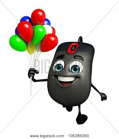 Computer Mouse Character With Balloons