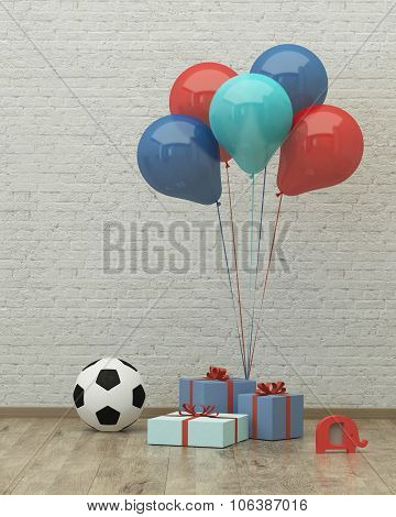 Ball, Ballons And Presents For Boy 3D