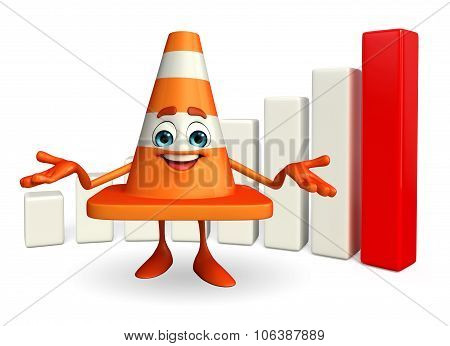 Construction Cone Character With Business Graph