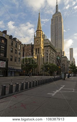 The Old Protestant Church In The Background Empire State Building
