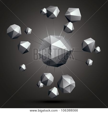 3D Contemporary Style Abstract Complicated Object, Cybernetic Futuristic Form. Technology Theme Shap