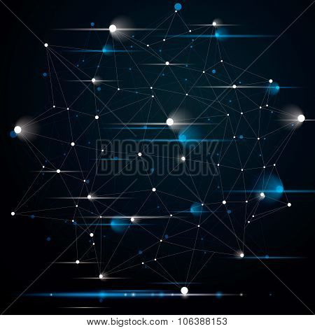 Spatial Technological Contrast Shine Shape, Polygonal Single Color Wireframe Object With Sparkles An
