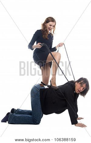 Woman putting leg on man in jacket