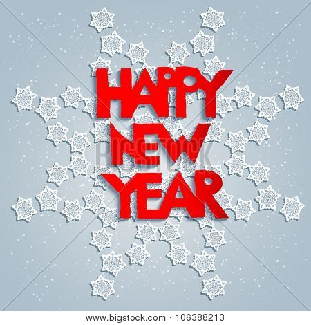 White snowflake and happy new year. Big holiday snowflake with Happy new year design for card, banner, invitation, leaflet and so on.
