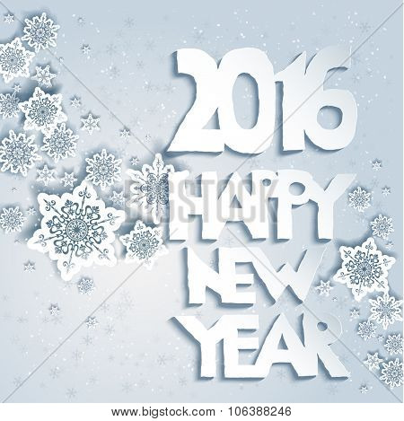 Snowflakes background with Happy new year. Design for card, banner, invitation, leaflet and so on.