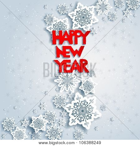 Background with Happy new year. Design for card, banner, invitation, leaflet and so on.
