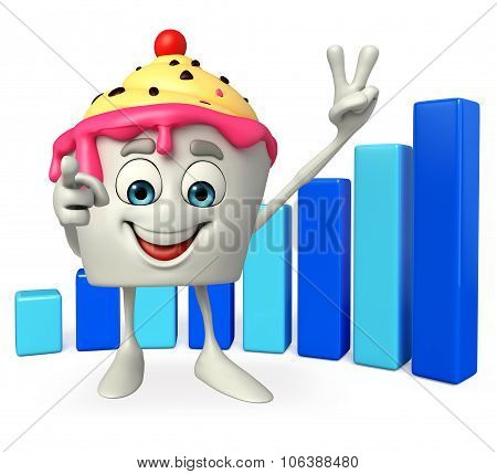 Ice Cream Character With Business Graph