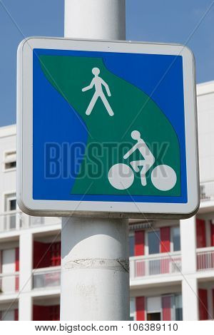 British Road Sign Segregated Route For Pedal Cycles And Pedestrians