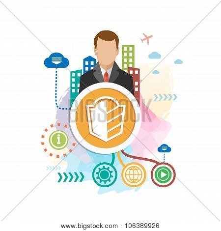 Shield And Man On Abstract Colorful Background With Different Icon And Elements.