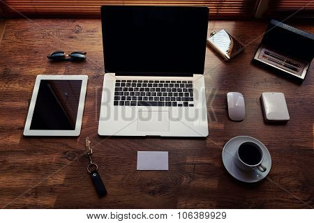 Mock up of modern freelance desktop with accessories and distance work tools