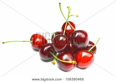Fresh Cherry Isolated On A White Background