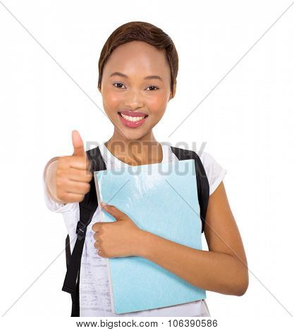 happy african college girl thumb up on white background