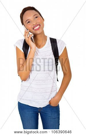 gorgeous university student talking on cell phone isolated on white background