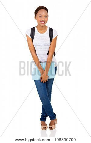 pretty female black college student isolated on white