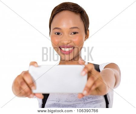 cheerful young african college girl taking self portrait