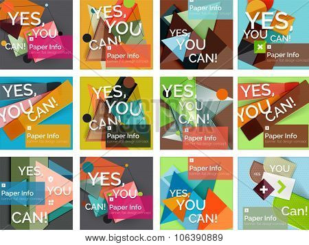 Set of square shaped banners or background layouts, web interface or app cover
