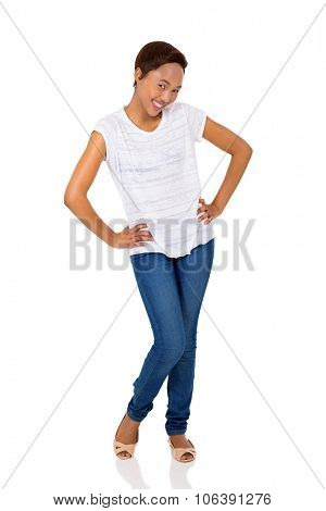 attractive afro american woman posing on white