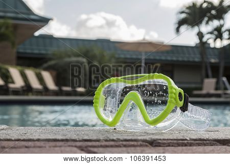 Green Diving Goggles By The Pool