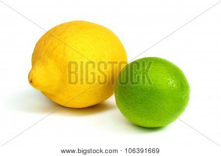 Lime And Lime Isolated On White Background