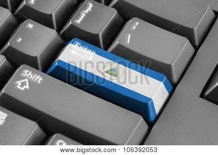 Enter Button With Nicaragua Flag