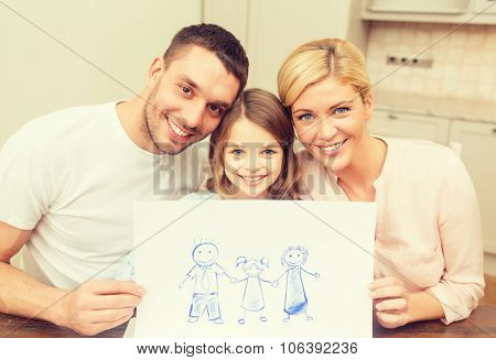 family, children and happy people concept - happy family drawing at home