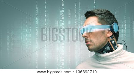 people, technology, future and progress - man with futuristic glasses and microchip implant or sensors over green background over binary system code