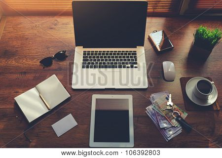 Laptop computer and digital tablet with blank copy space for text message or information content