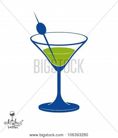 Martini Glass With Olive Berry, Alcohol And Entertainment Theme Illustration. Party Lifestyle Graphi