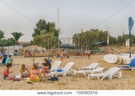 Paros, Greece, 9 August 2015. Xrisi Akti beach with people enjoying their summer.