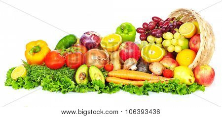 Fruits and vegetables isolated over white background. Healthy diet.