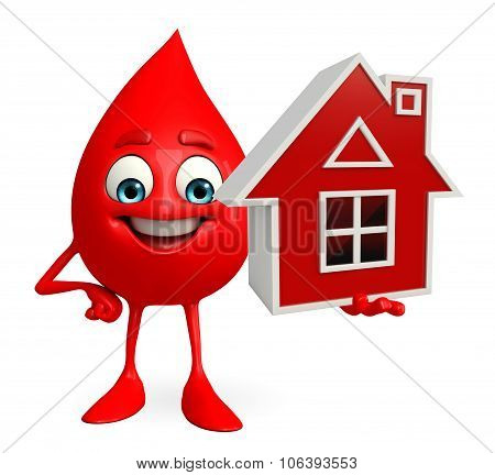 Blood Drop Character With Home
