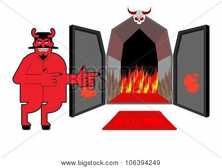 Satan Invites Sinners To Hell. Devil Indicates Hand On Purgatory. Laughing Red Daemon At  Entrance O