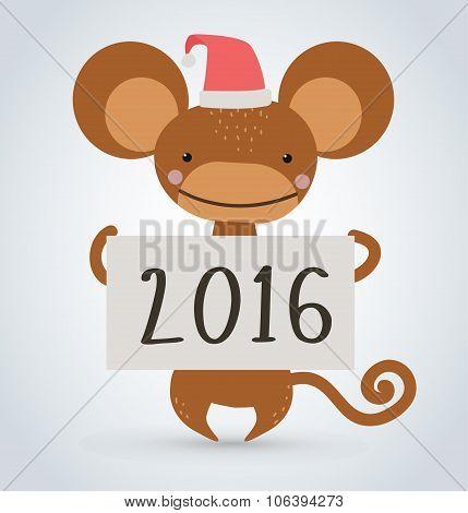 New Year Christmas monkey ape wild cartoon animal holding 2016 board vector