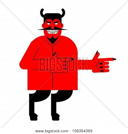 Devil Indicates. Red Demon With Horns And Hoofs. Satan With Beard.