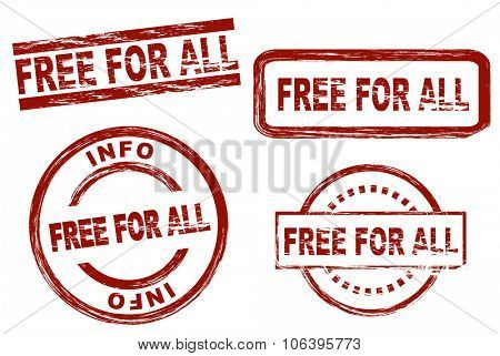 Set of stylized stamps showing the term free for all. All on white background.