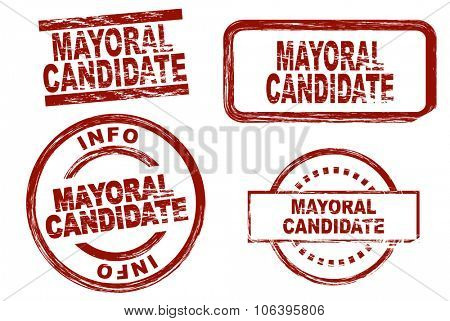 Set of stylized stamps showing the term mayoral candidate. All on white background.