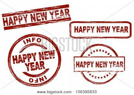 Set of stylized stamps showing the term happy new year. All on white background.