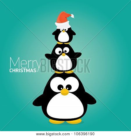 merry christmas card with penguins set.