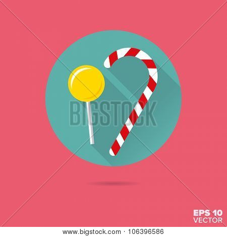 lollipop and candy cane sweet food flat design vector icon