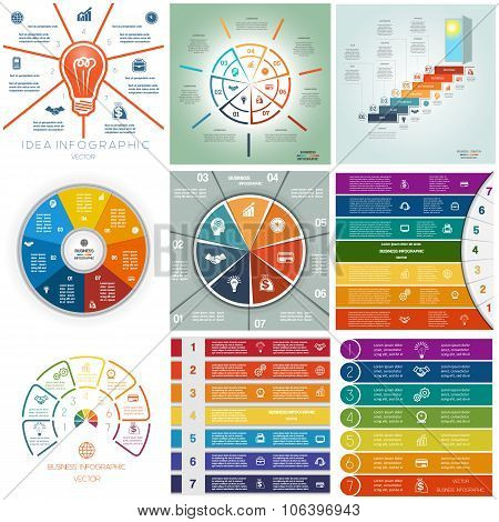 Set 9 Templates Infographics Cyclic Processes, Seven Positions