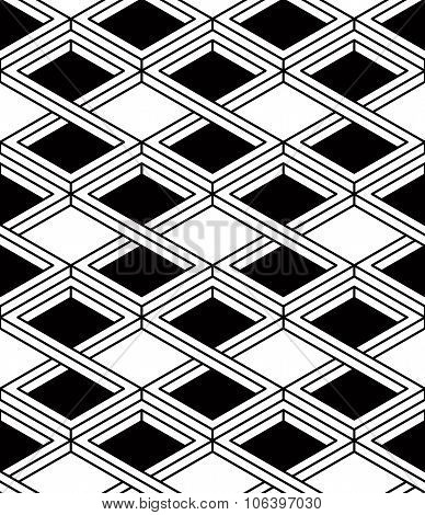 Black And White Illusive Abstract Geometric Seamless 3D Pattern. Vector Stylized Infinite Rhombuses