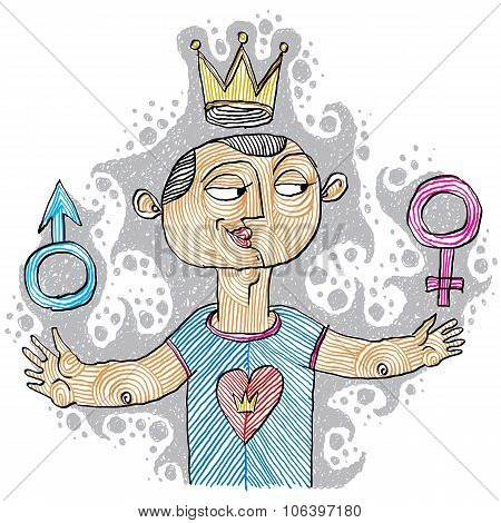 Alpha Male Concept. Bisexual Idea Vector Simple Illustration, Hand Drawn Man With A Crown On A Head