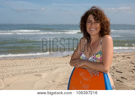 Woman Having Fun Bodyboarding