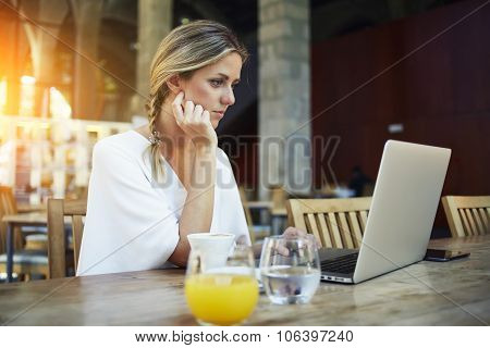 Portrait of charming young women entrepreneur work on portable laptop computer during coffee break
