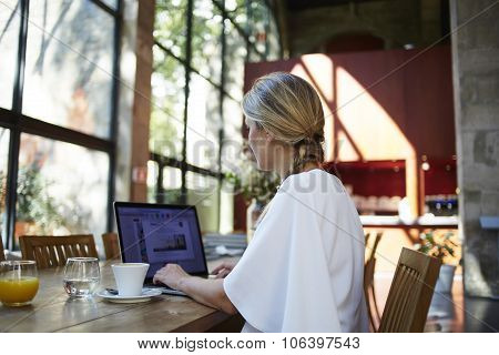 Young elegant women working on her net-book during coffee brake
