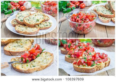 Bruschetta With Tomatoes, Herbs And Oil On Toasted Garlic Cheese Bread, Collage