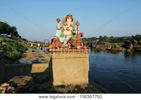 Ganesh Himal At Tungabhadra River, Hampi